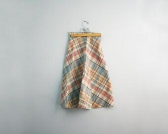 vintage 70s Pastel Plaid Pink & Blue Preppy Wool Skirt XS S