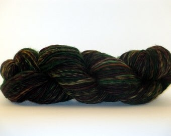 SYLVESTER McCOY Green and Brown Hand Dyed Hand Spun Superwash BFL Yarn 232yds