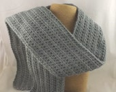 Dove Gray soft grey Alpaca Blend Crochet Scarf ... awesome for men or women