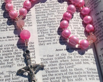 Pink Pearl Anglican Rosary  Protestant Prayer Beads  Episcopal Rosary  Episcopalian Rosary  originally 58.90 now 25 holiday  sale