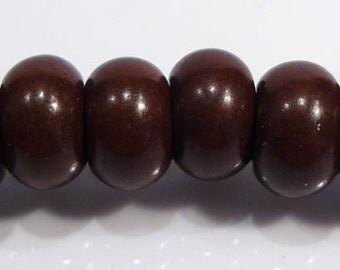6 Beads....Coffee Howlite Turquoise Big Hole Gemstone Rondelle Beads....14mm...BB