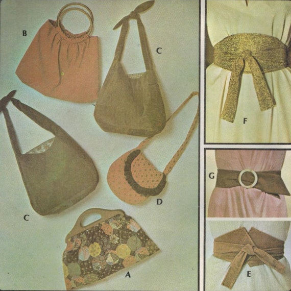1970s McCall's 4613 Vintage Sewing Pattern Accessories Belts and Bags One Size