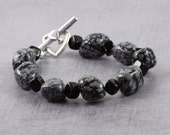 Black Obsidian Gemstone Bracelet Snowflake Obsidian Chunky Bracelet Ebony Jewelry Gray Bracelet Black Jewelry Winter Fashion Bold Style Dots