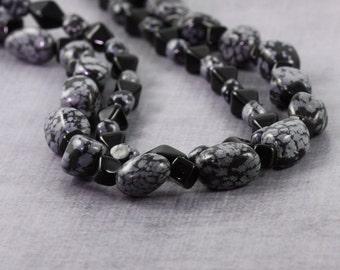 Black Necklace Snowflake Obsidian Gemstone Necklace Multistrand Chunky Necklace Ebony Jewelry Gray Jewelry Sterling Silver Beaded Necklace