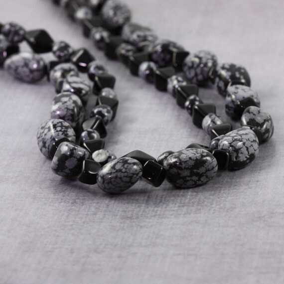 Black Necklace Snowflake Obsidian Gemstone Necklace Multistrand Chunky Necklace Ebony Jewelry Gray Jewelry Sterling Silver Beaded Necklace