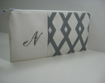 Embroidered Clutch, Personalized, Initial, Grey and White Geometric,Pouch, Bridesmaid Clutch, Made To Order