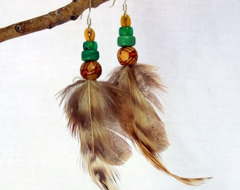 Sweeping Feather Dangles with Painted Wood Beads