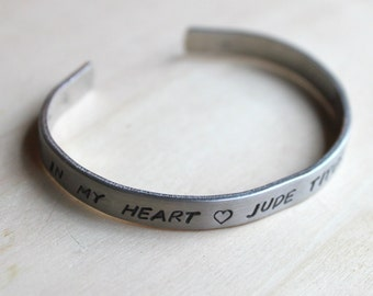 FREE SHIPPING. Hand Stamped Cuff Bracelet. Silver Aluminum. Personalized