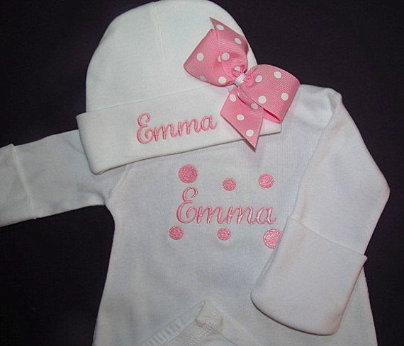 newborn baby girl coming home outfit gown with mitten cuffs