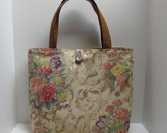 Large Floral Bag, handbag, tote, purse, book bag, travel bag, school bag, women's bag