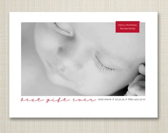 Holiday birth announcement, photo christmas card, modern birth announcement, holiday card birth announcement - best gift ever.