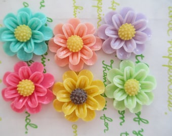 Colorful Daisy flower cabochons 6pcs 25mm