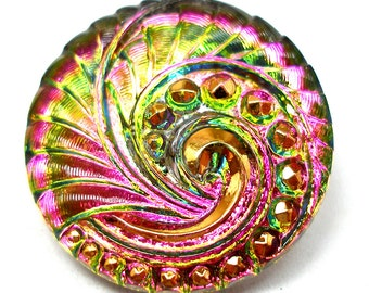 Flamingo Czech glass BUTTON, Fuchsia pink & chartreuse green swirl with gold, 27mm.