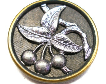 SALE 1800s metal BUTTON, Victorian Cherries in silver. Price reduced.