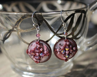 Hand Beaded Vintage button earrings, swarovski crystals and seed beads and sterling silver findings