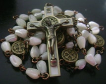 catholic Handmade  Rosary necklace Vintage Mother-of-Pearl Beads Rosary Ancient bronze Crucifix  Cross