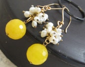 Cultured Pearls Yellow Jade Earrings