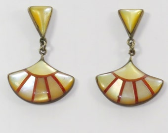 Vintage Yellow Shell and Orange Coral Earrings