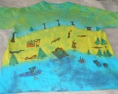 Summer Dachshund Lake Wiener Dogs Tie Dye T Shirt Large Adult Unisex Green Blue