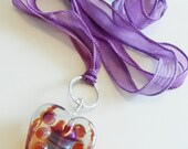 Shining Heart Necklace Lampwork Sterling Silver Necklace by keiara SRA