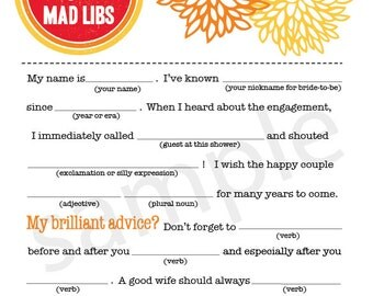 Pretty Mums Bridal Shower Mad Libs PDF FILE Immediate Downloadable File Download Right NOW