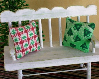 Christmas Pillows Cushions Red Green Trees 1:12 Dollhouse Miniatures Artisan