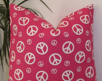 Peace Sign Hot Pink and White  Pillow Cover -  Invisible Zipper - Same Fabric Both Sides.