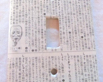 vintage JAPANESE dictionary MASK light switch plate