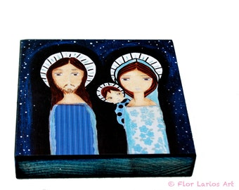 Starry Night -   Giclee print mounted on Wood (4 x 4 inches) Folk Art  by FLOR LARIOS