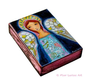 My Wings are for You - Angel - Giclee print mounted on Wood (5 x 7 inches) Folk Art  by FLOR LARIOS