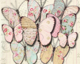 SHABBY BUTTERFLIES Collage Digital Images -printable download file-
