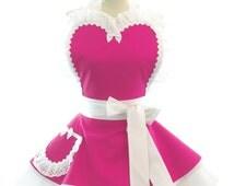Retro Apron - Wedding Day Womans Aprons - Vintage Apron Style - Bridal Party Pin up Bridesmaid Hot Pink Rockabilly Cosplay Lolita