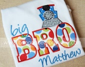 Big or Lil Brother Train Applique Shirt or Bodysuit - Thomas Inspired