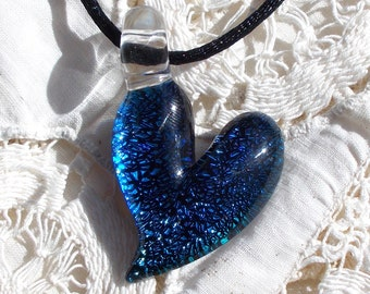 Blue Dichroic Glass Heart Pendant, Necklace, or Focal Bead