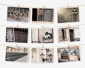 SALE! Paris Postcard Set, Black Travel Postcards 4x6 Art Print, Affordable Art, Paris Decor, Black and White Prints Dorm Decor