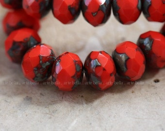 CORAL POPS No. 2 .. 10 Premium Picasso Czech Glass Beads 6x8mm (3914-10)