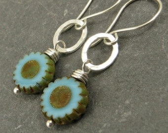 Flower Earrings, Fine Silver Earrings, Wire Wrapped Jewelry, Gifts for Her Eco Friendly Jewelry