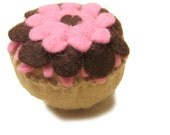Felt Play Food Toy Cupcake with Pink and Brown Frosting