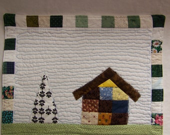 Patchwork Cottage #3  Mini Quilt , Mug Rug or Table Mat 'Pieceful Feeling'