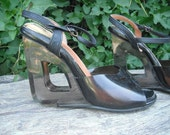 Vintage Shoes / Funky Heeled Shoes with Cut out - four inch heels