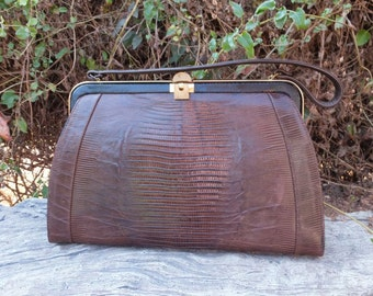 1950s/60s Lizard Handbag / Ex Large Handbag / Reptile Purse