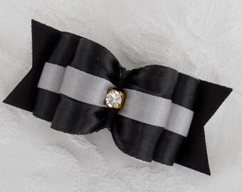 "7/8"" Black and Silver Show Dog Bow"