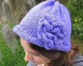 On Clearance Handmade Knit Beanie in Light Purple Soft Acrylic with Flower