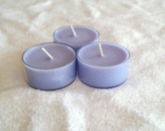 Three Purple Lavender Scented Tea Light Soy Candles