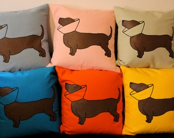 Sage Green Cone Dog Pillow / Dotson Pillow / Doxie Pillow / Dachshund Pillow