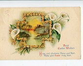 Best Easter Wishes Vintage Postcard of Calla Lilies and Scenic flowers with a window scene