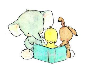 Children's Art -- A Jolly Read -- Art Print