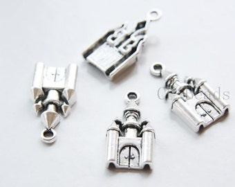 10pcs Oxidized Silver Tone Base Metal Charms-Castle 28x14mm (19010Y-C-306)