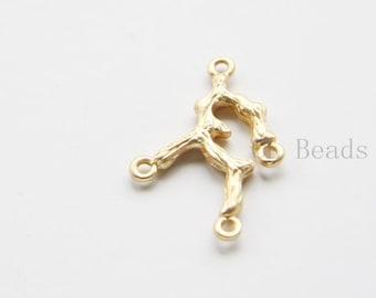 4pcs Matte 16K Gold Plated Base Metal Links- Branch - 26x18mm (482C-S-250)