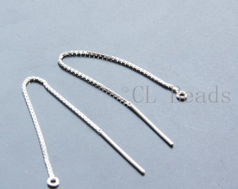 2pcs (1 Pair) Sterling Silver Earring Thread with Box Chain - Earring Line - 3 Inch